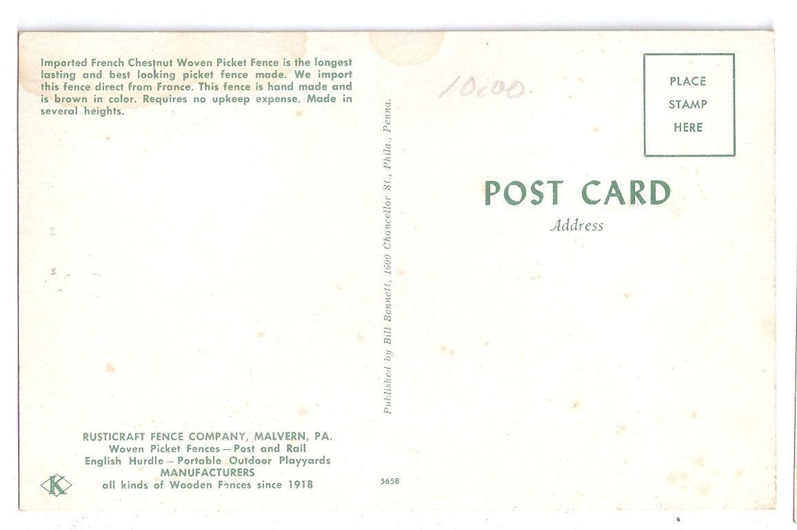 Advertising Postcard Rusticraft Fence Malvern Pennsylvania PA