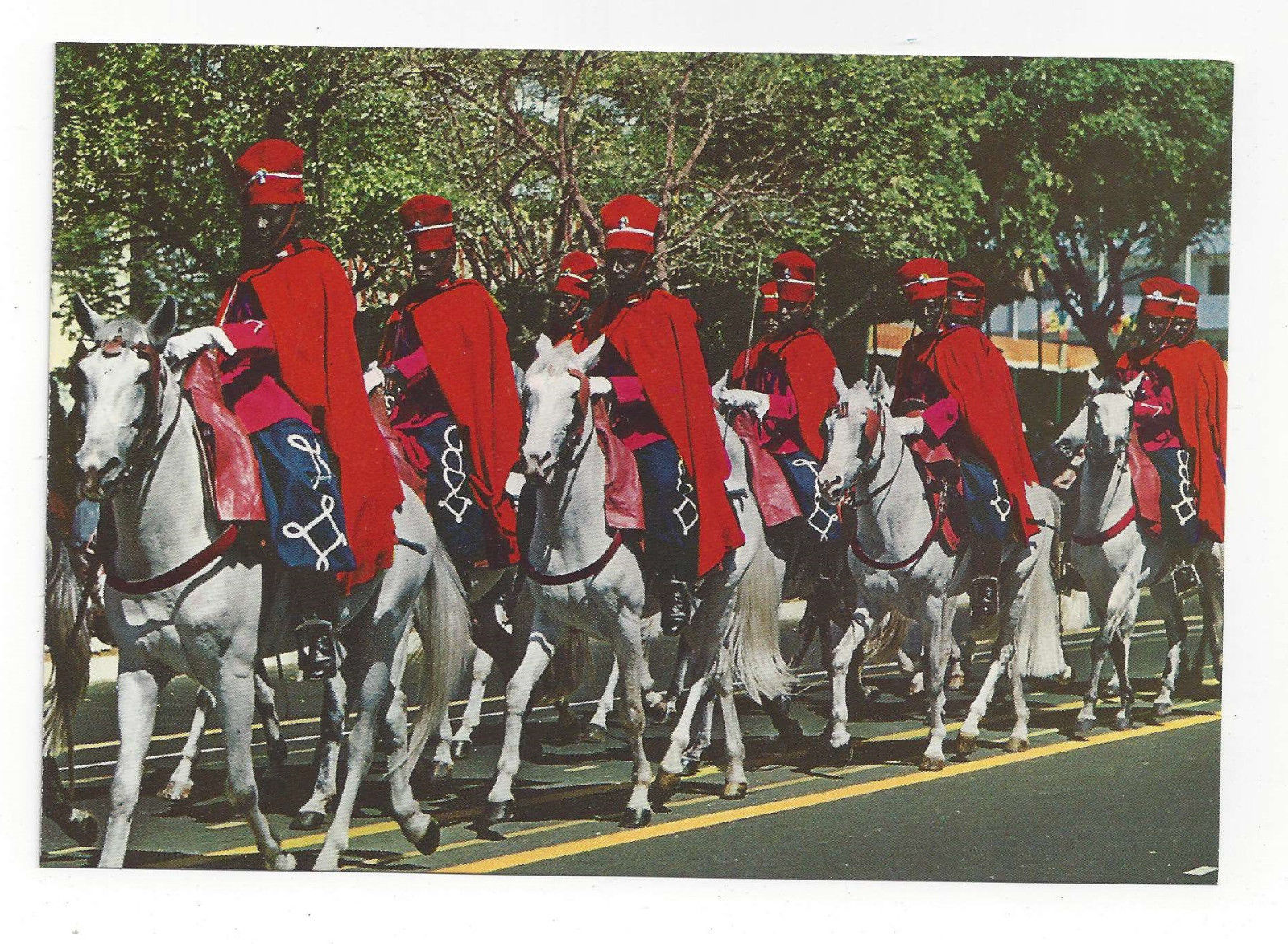 Africa Senegal La Garde Rouge de Dakar Red Coated Horse Guard Vtg Postcard 4X6