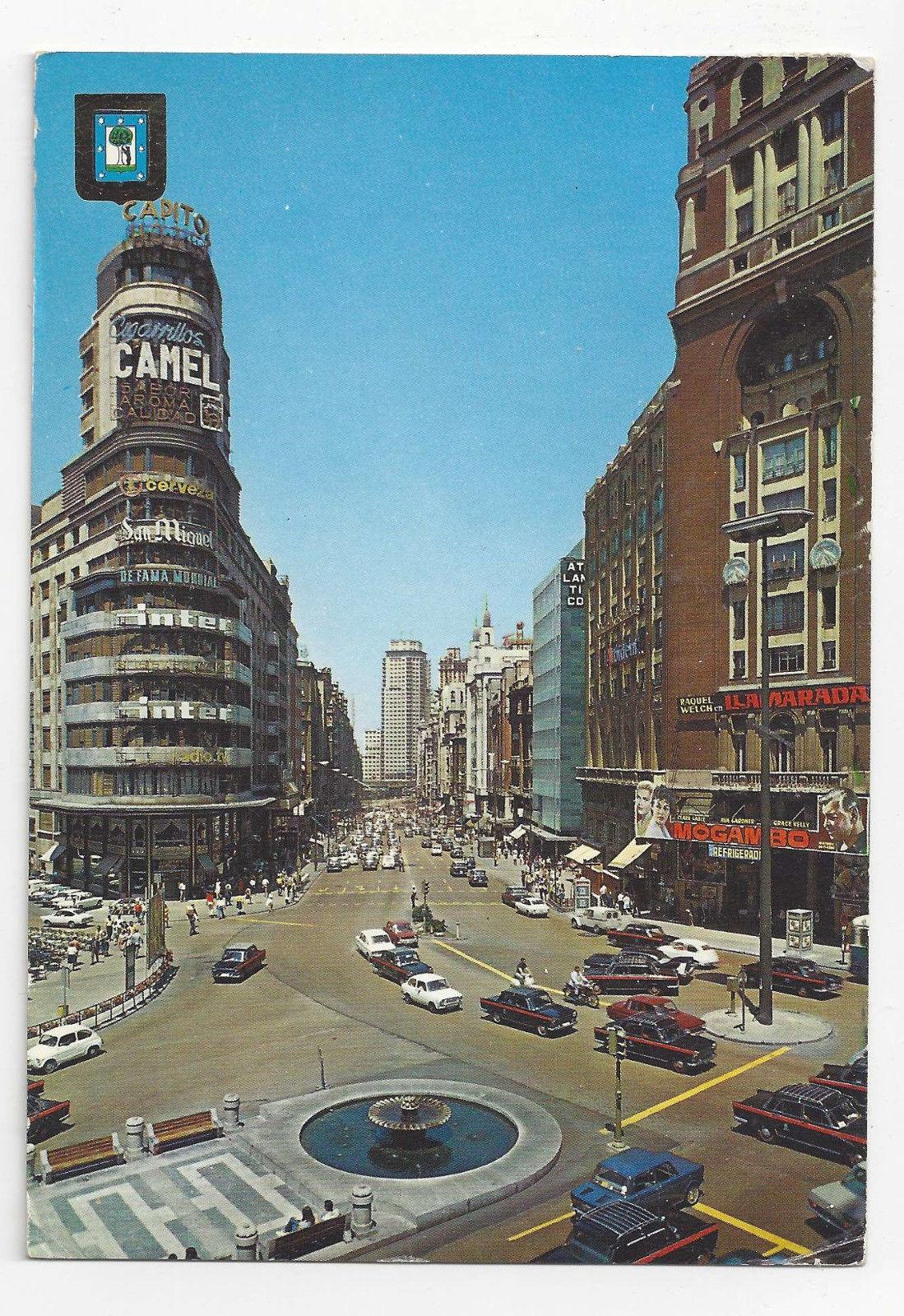 Camel Cigarette Ad Madrid Spain Callao Square Vtg Postcard 4X6 1960's