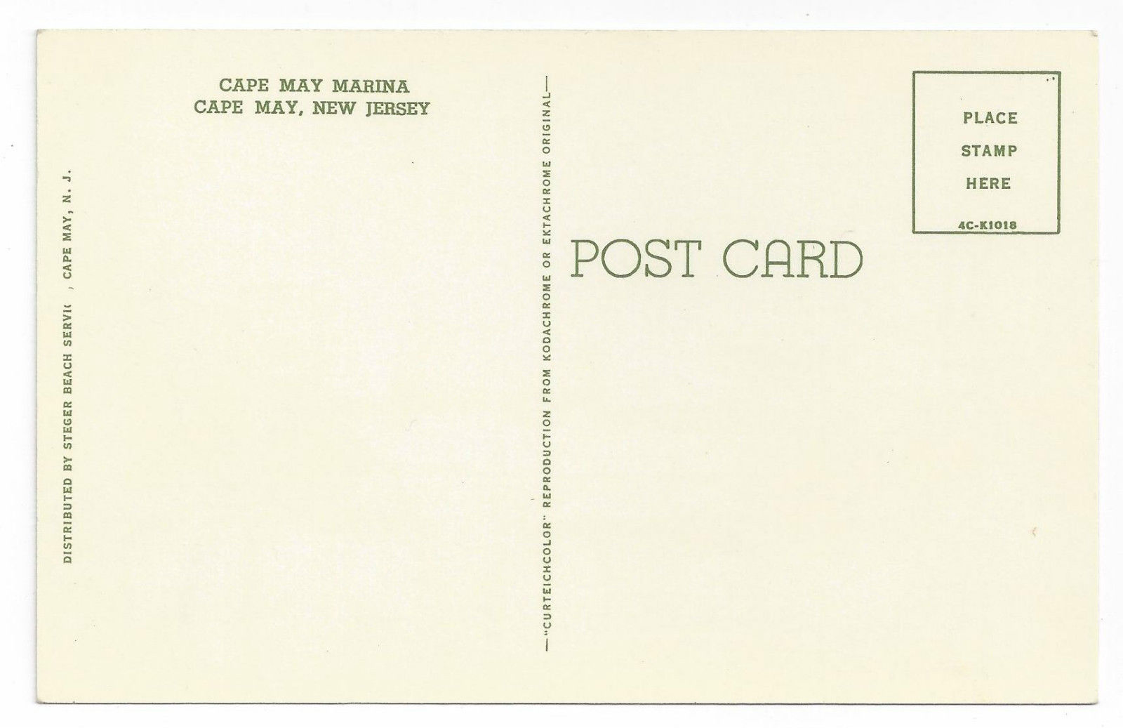 Cape May NJ Marina Sailboat Vintage 1954 Postcard Boat