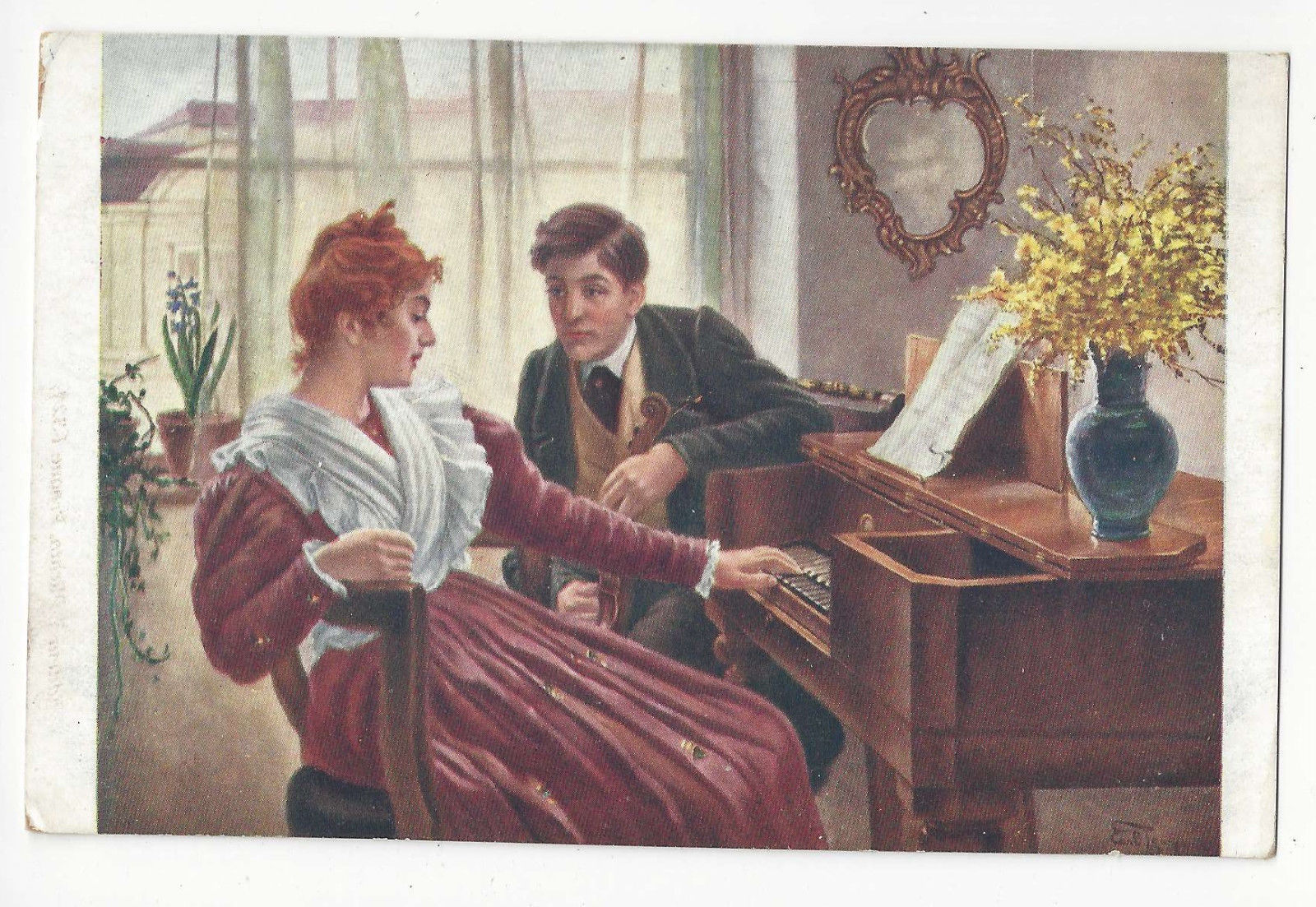 Carl Zewy Artist Signed Beginning of Romance Vtg Postcard Prague