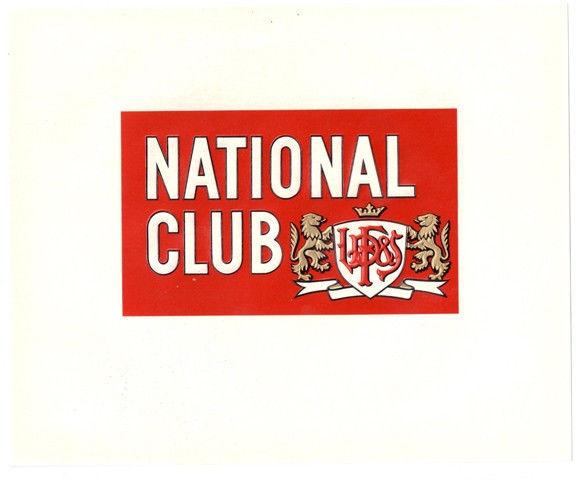 Cigar Box Inner Label National Club Embossed