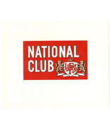 Cigar Box Inner Label National Club Embossed - $4.74