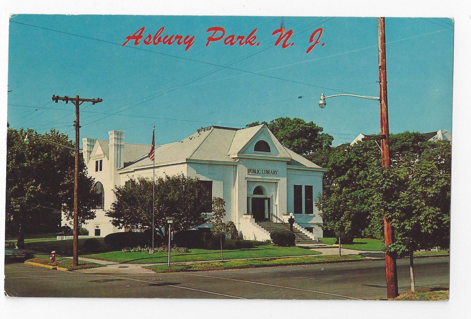 Asbury Park NJ Public Library First and Grand Avenue Vintage Postcard