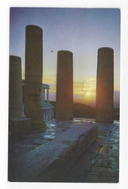 Athens Greece Sunset at Acropolis Olympic Airways Postcard 1970s - $6.36