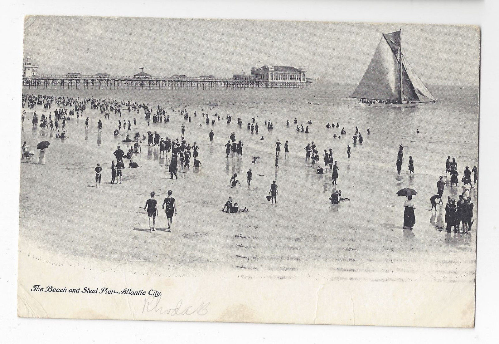 Atlantic City NJ Steel Pier and Beach Sailboat Bathers Vtg 1907 Postcard