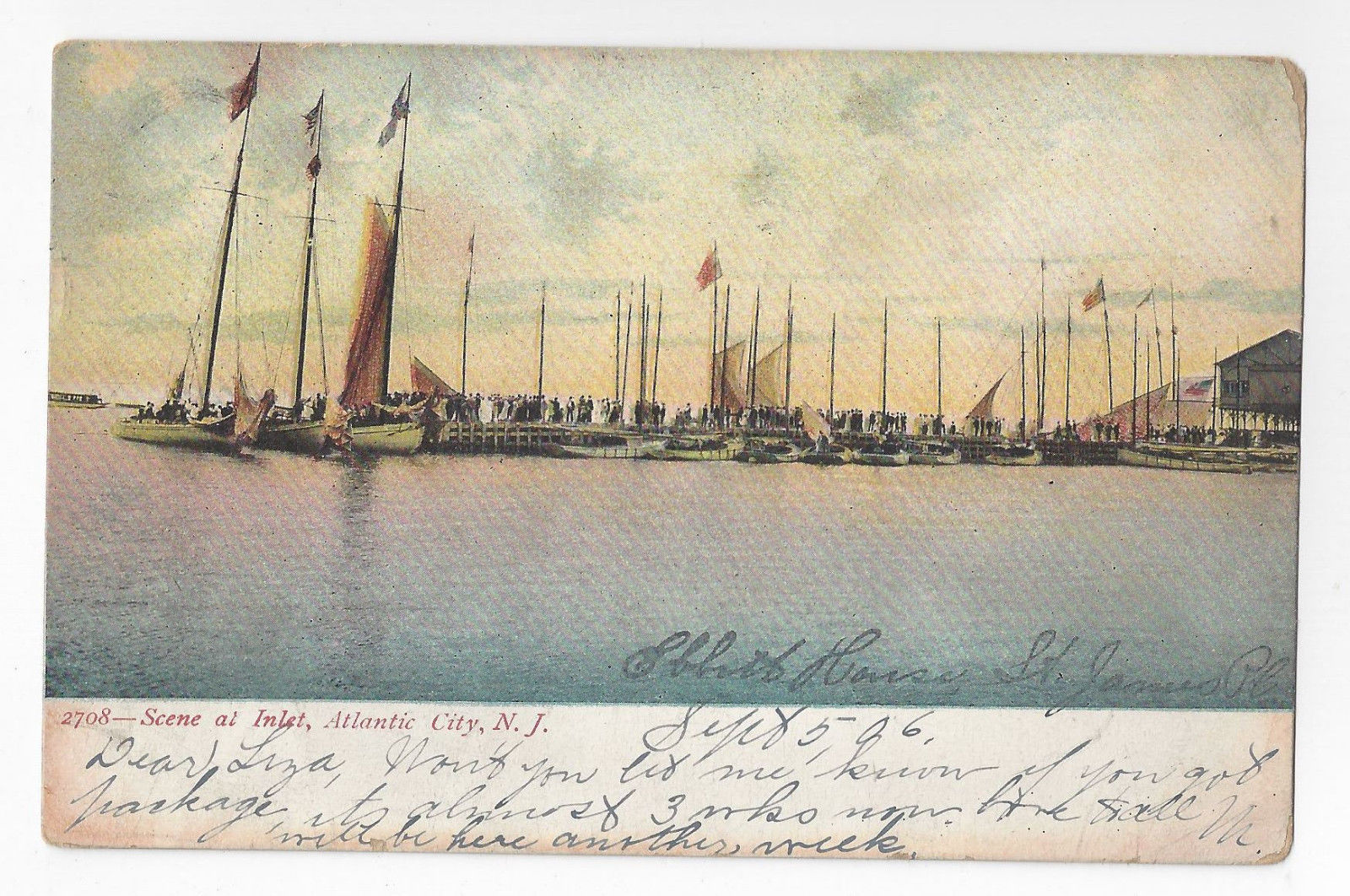 Primary image for Atlantic City NJ Inlet Sail Boats New Jersey 1906 Postcard UDB