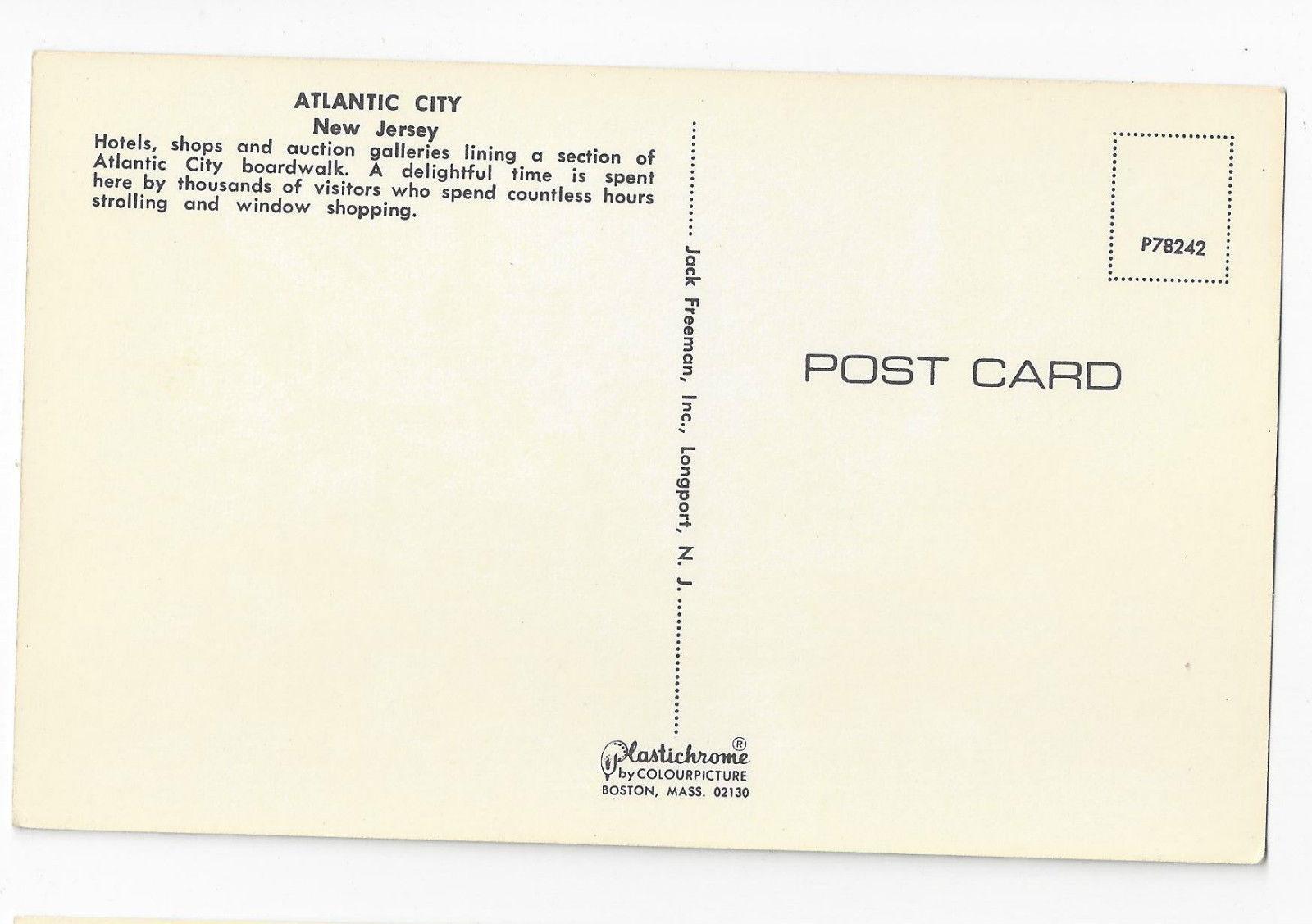 Atlantic City NJ Boardwalk Hotels Marlborough Shops Vintage Freeman Postcard