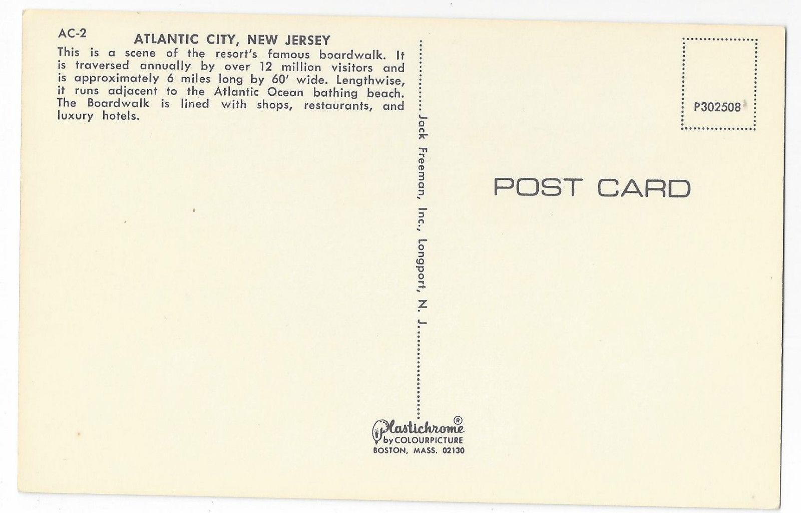 Atlantic City NJ Boardwalk Hotels Shops Rolling Car Vintage Freeman Postcard
