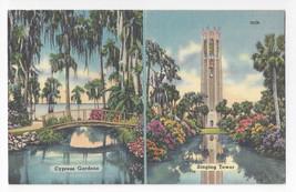FL Dual View Cypress Gardens Singing Tower Tichnor Linen Postcard - $6.36