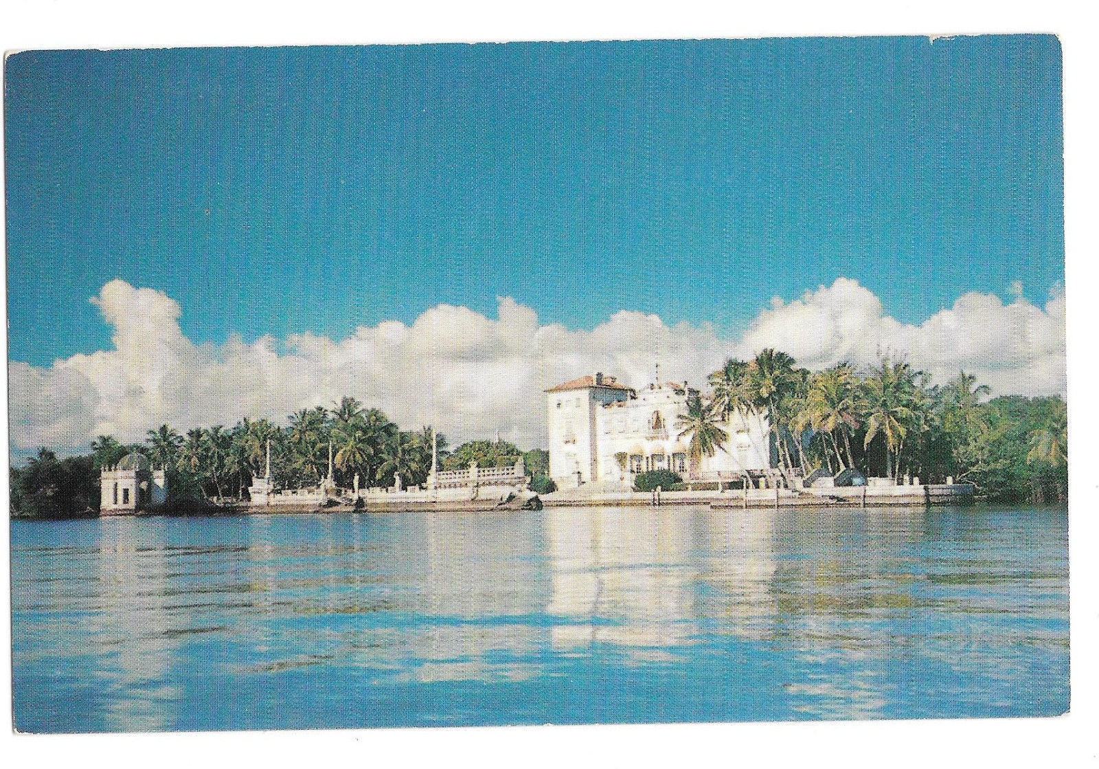 FL Miami Vizcaya From the Bay Deering Estate Dade County Art Museum Vtg Postcard