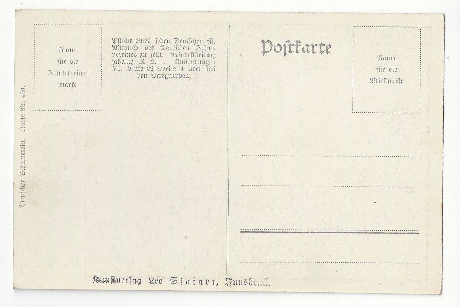 Austria Deutscher Schulverein 490 Weeping Proud Woman Vtg Leo Stainer  Postcard