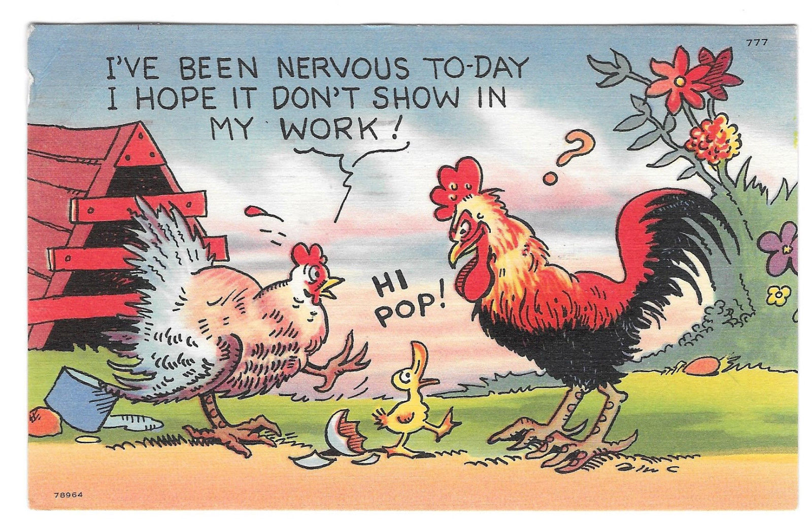 Father Rooster Baby Duck Family Humor Cartoon Vtg 1955 Postcard