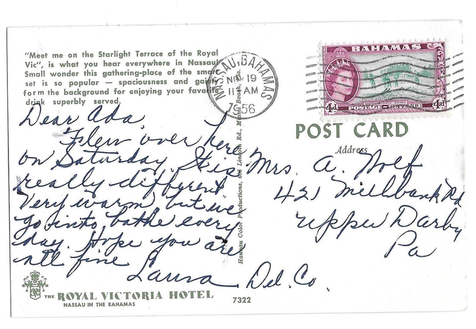 Bahamas Nassau Starlight Terrace Royal Victoria Hotel Vtg Postcard 1956 Stamp