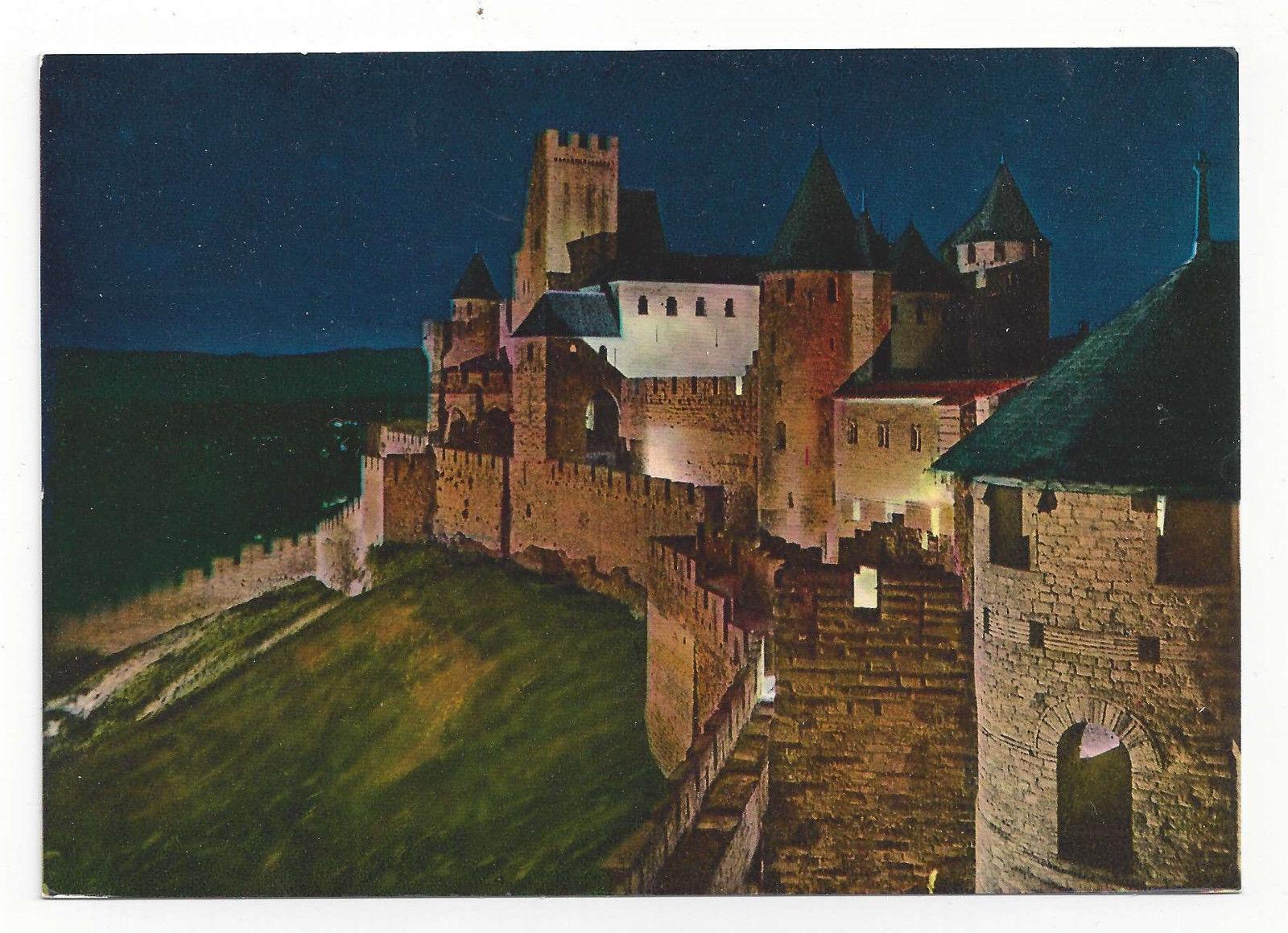 France Cite de Carcassonne Chateau Comtal Fort Citadel Night Vtg Postcard 4X6