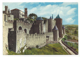 France Cite Carcassone Fort Citadel Castle Porte d'Aude Vtg Chrome Postc... - $6.36