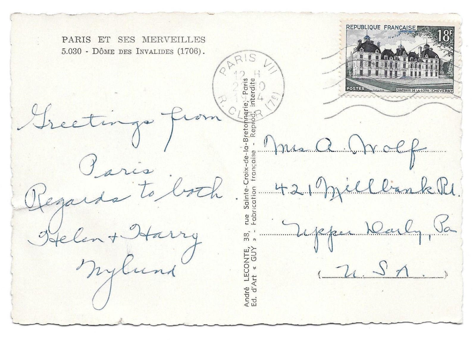 France Paris Dome des Invalides Vtg 1954 Guy Postcard 4X6 Stamp