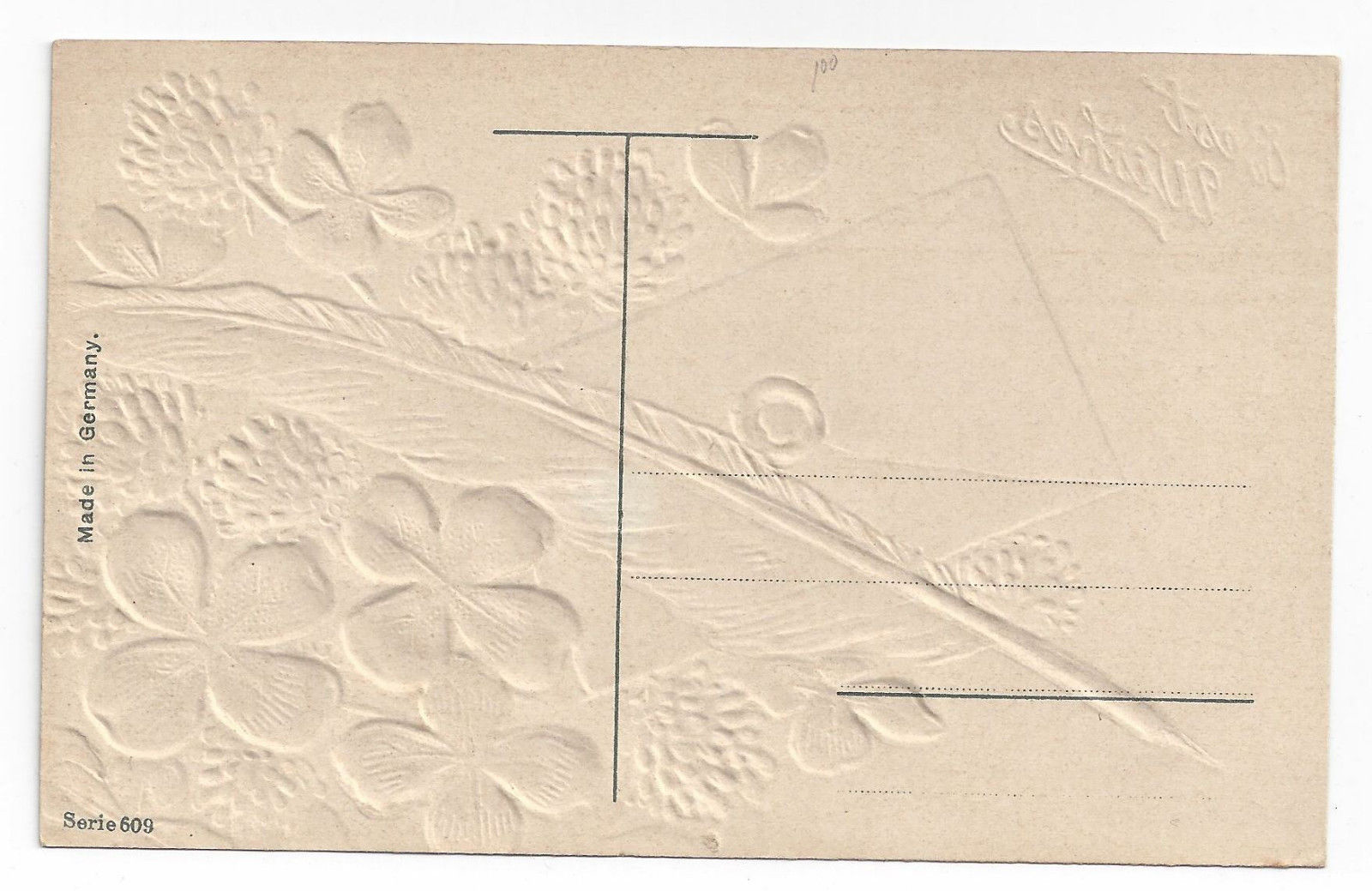 Best Wishes Greetings Postcard Embossed Gold Clover Feather Letter