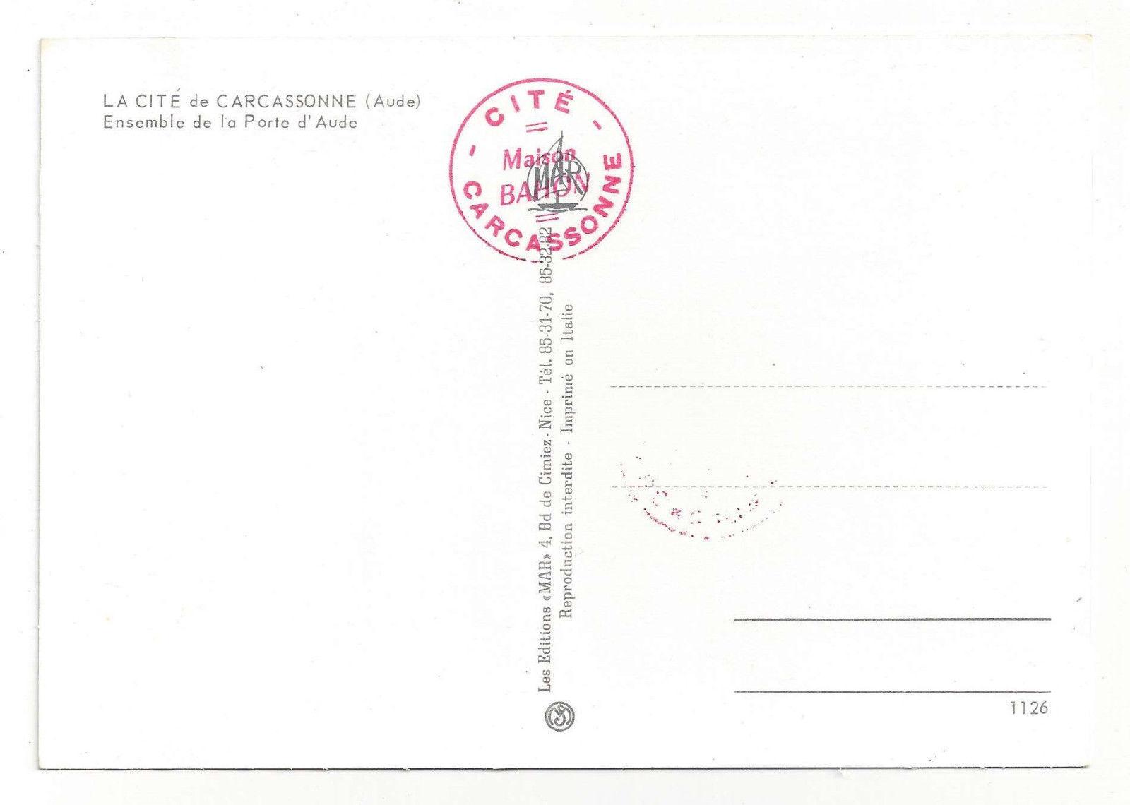 France Cite Carcassone Fort Citadel Castle Porte d'Aude Vtg Chrome Postcard 4X6
