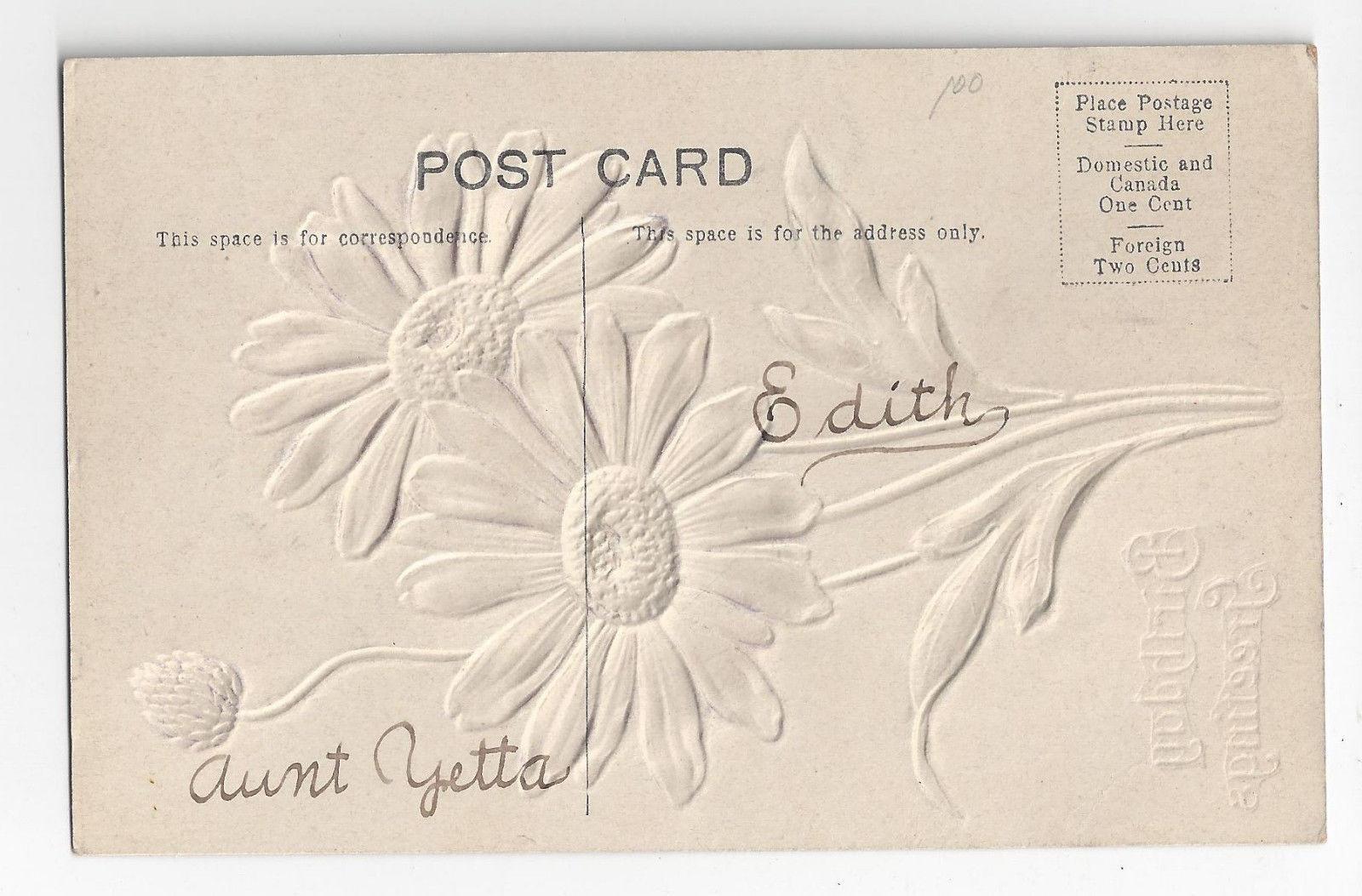 Birthday Greetings Embossed Air Brushed Silver Metallic Flower Postcard