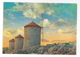 Greece Rhodes Windmills Rodos Sunset Vtg Postcard 4X6 - $4.74
