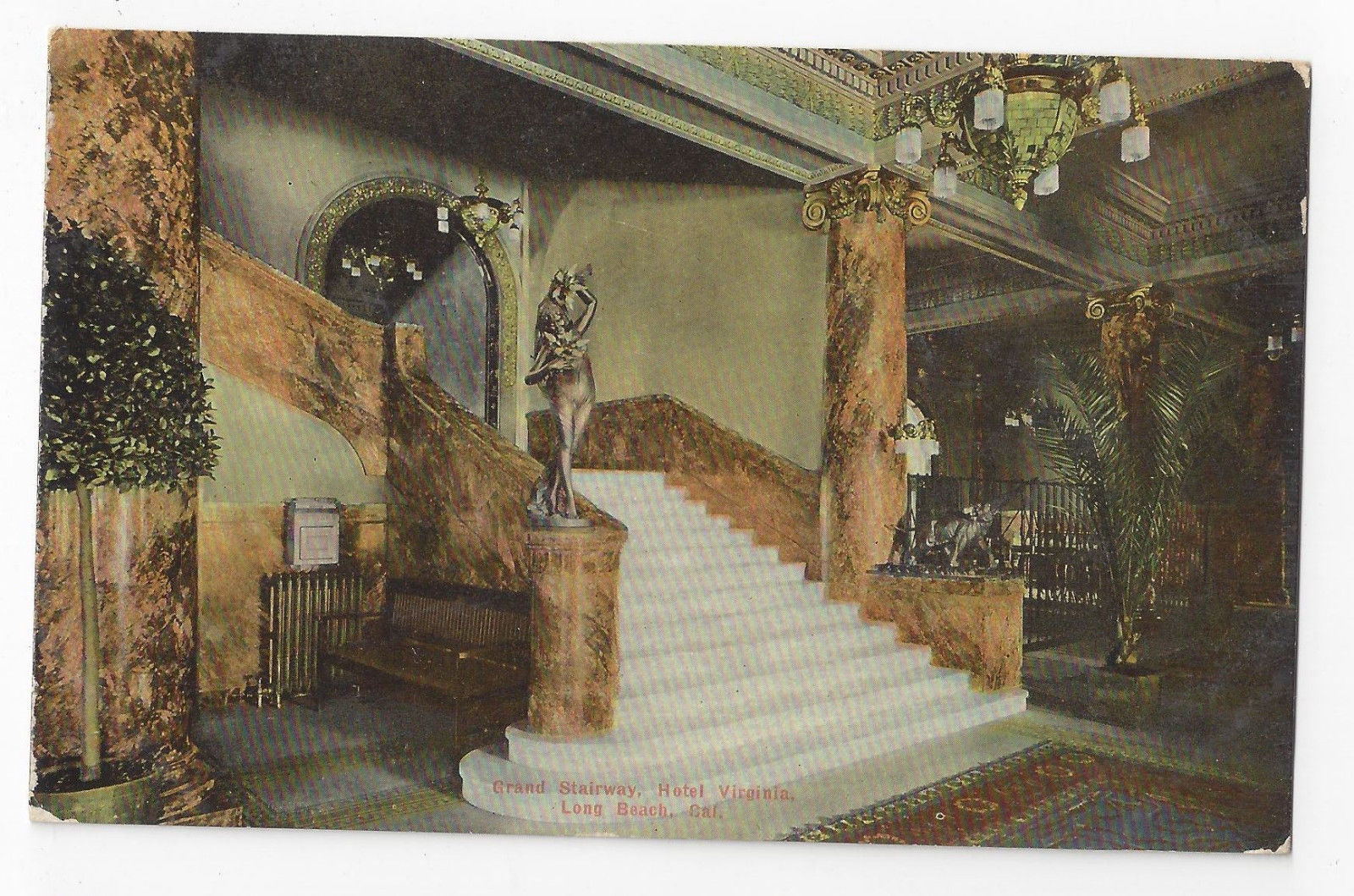 CA Long Beach Hotel Virginia Stairway Grand Marble Staircase Vintage Postcard