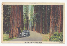 CA Dyerville Flat Redwood Highway Car Vtg Curteich Linen Postcard 1943 - $4.74