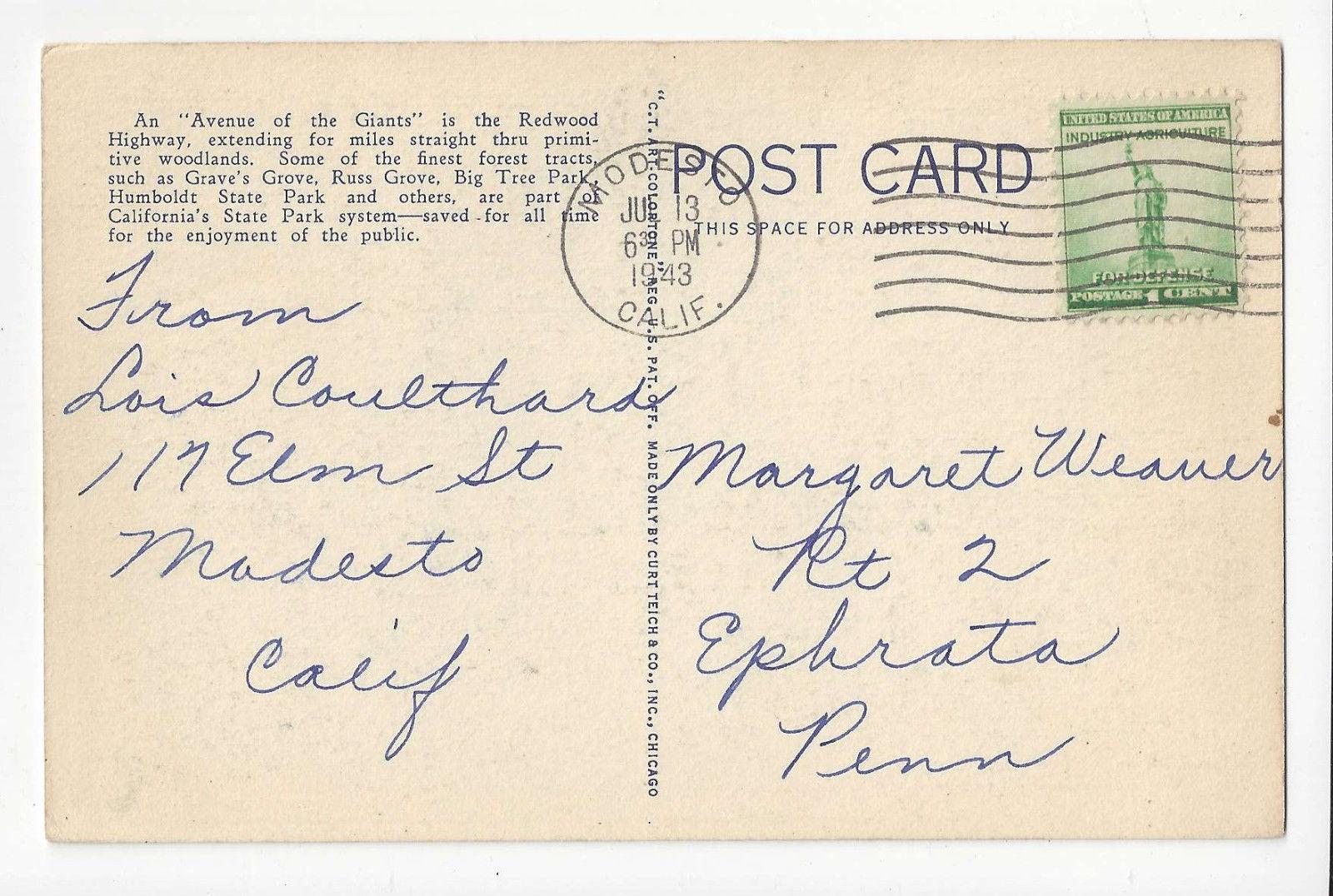 CA Dyerville Flat Redwood Highway Car Vtg Curteich Linen Postcard 1943