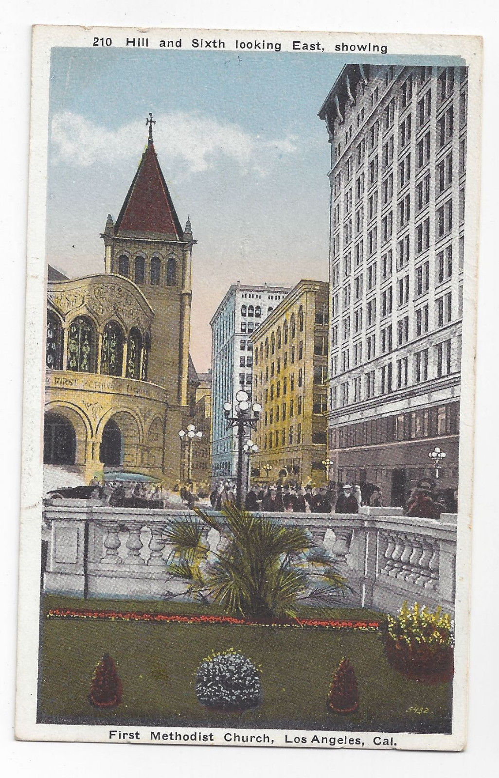 CA Los Angeles First Methodist Church Hill and Sixth Vintage Kashower Postcard