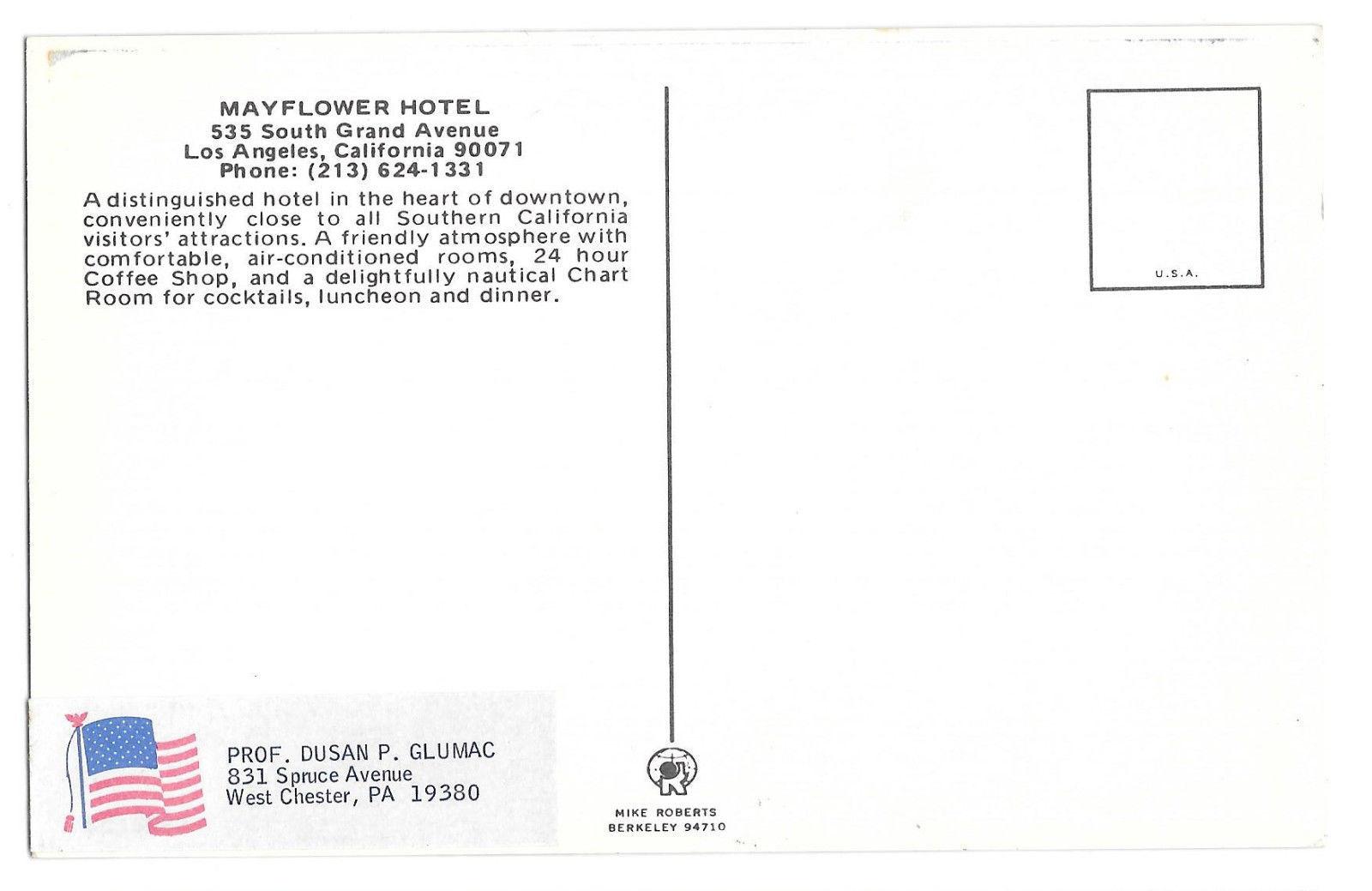 CA Los Angeles Mayflower Hotel Vtg Mike Roberts Postcard