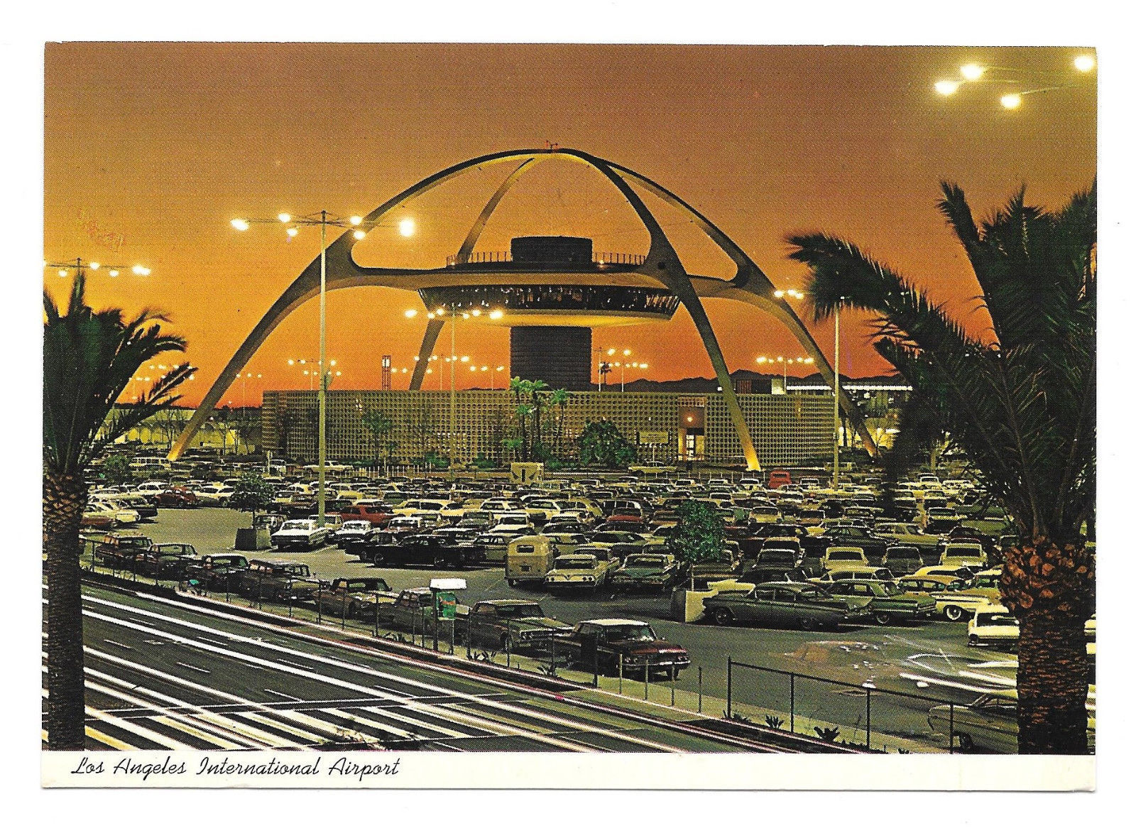 CA Los Angeles International Airport Theme Building Night Vtg Postcard 4X6