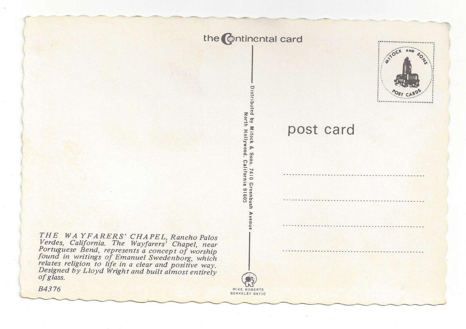 CA Palos Verdes Wayfarers Chapel Lloyd Wright Vtg Mitock Postcard 4X6