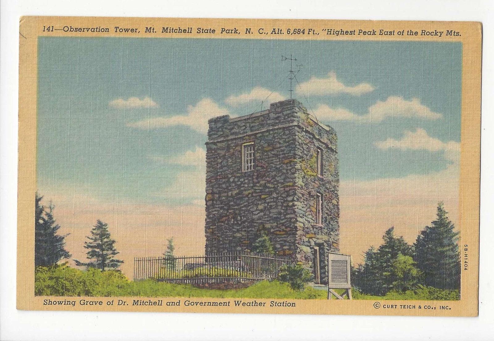 NC Mt Mitchell State Park Observation Tower Grave Weather Station Vtg Postcard