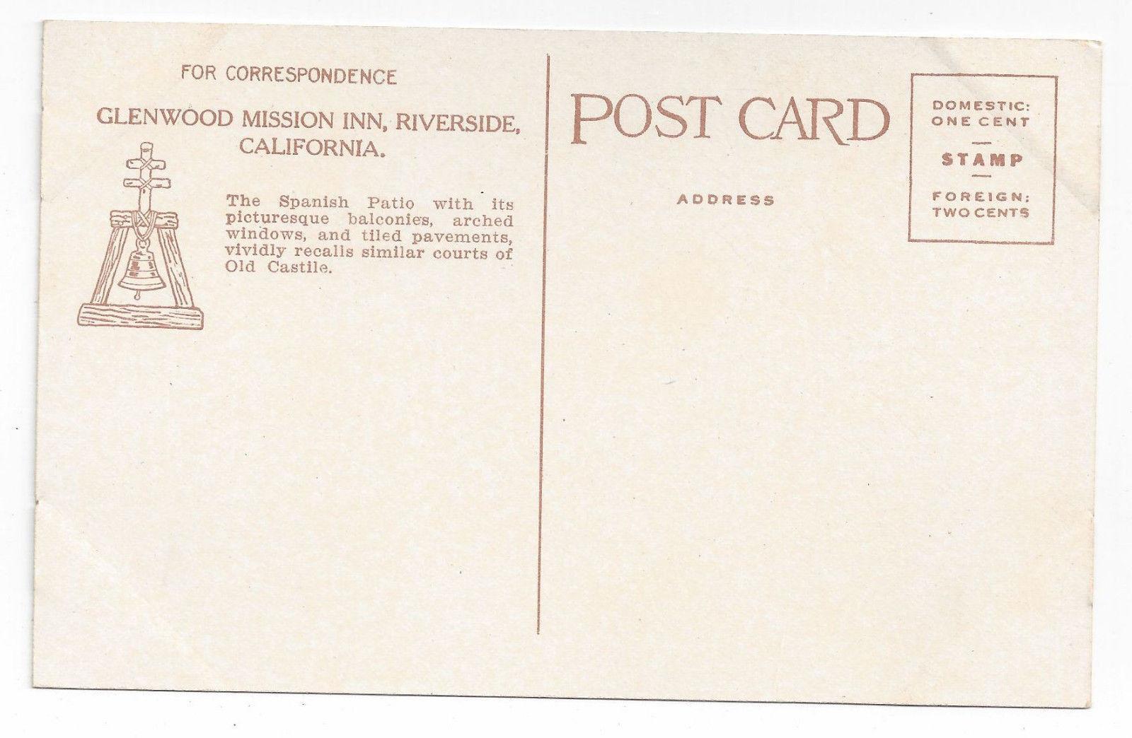 CA Riverside Mission Inn Spanish Patio Vintage Postcard