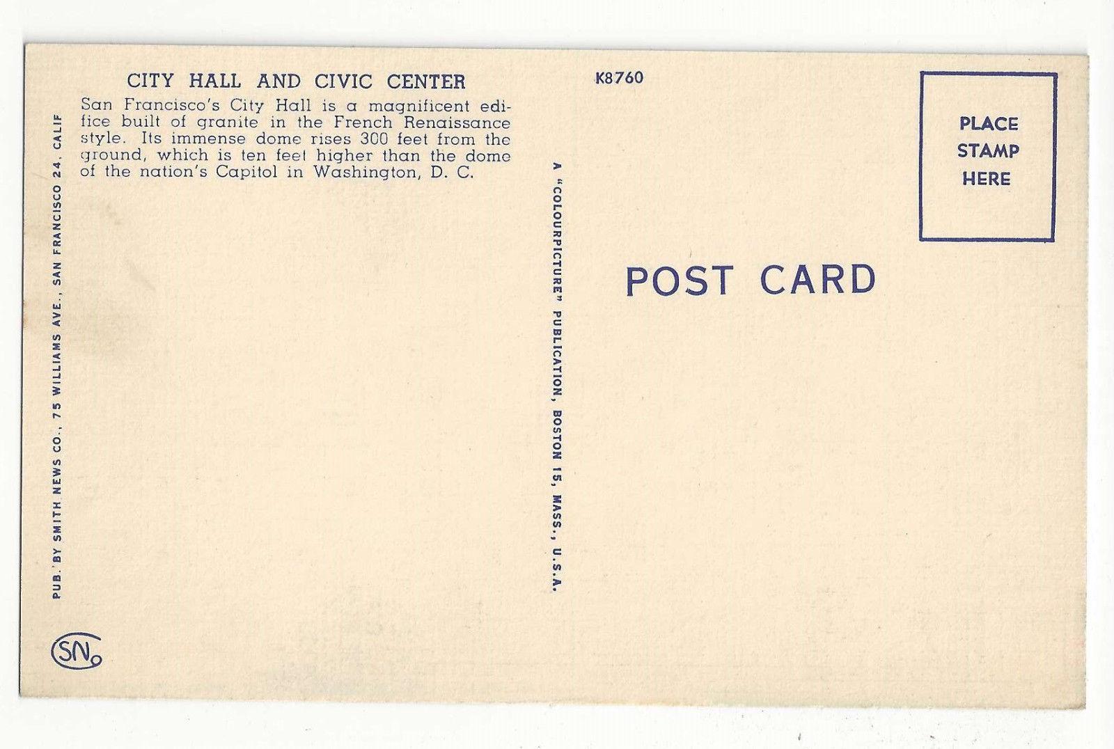 CA San Francisco City Hall Civic Center Vtg Linen Colourpicture Postcard