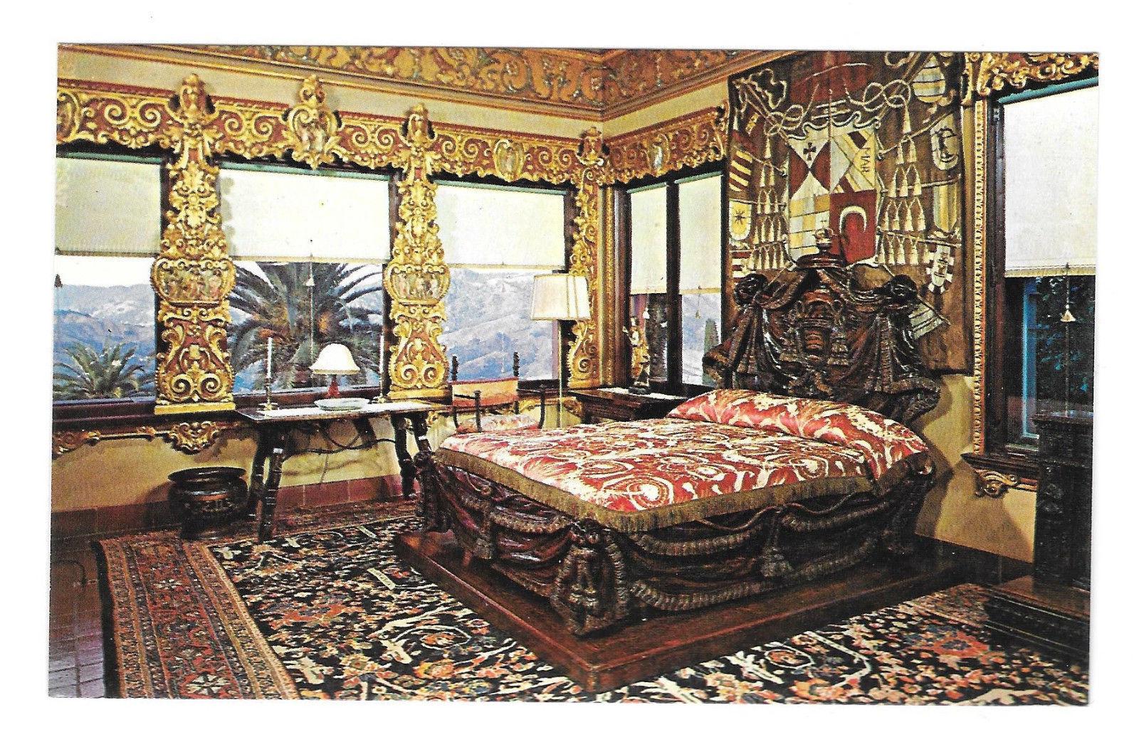 CA San Simeon Hearst Castle Mansion Cardinal Richelieu Bed Vtg Postcard