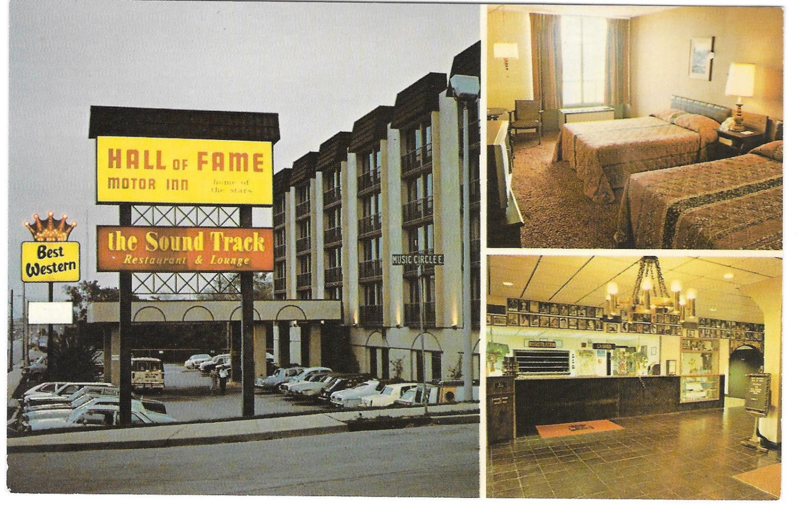 Nashville TN Hall of Fame Motor Inn Best Western Motel Soundtrack Vtg Postcard