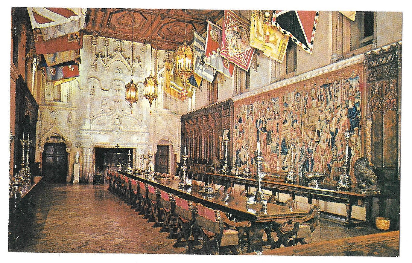 CA San Simeon Heart Castle Mansion Refectory La Casa Grande Vtg Postcard