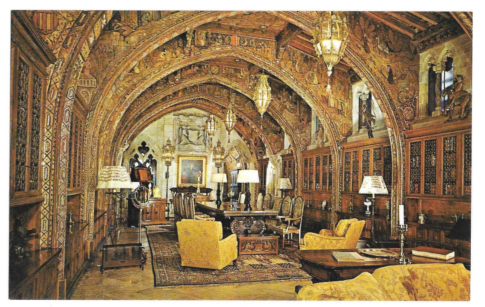 CA San Simeon Heart Castle Mansion Gothic Study La Casa Grande Vtg Postcard