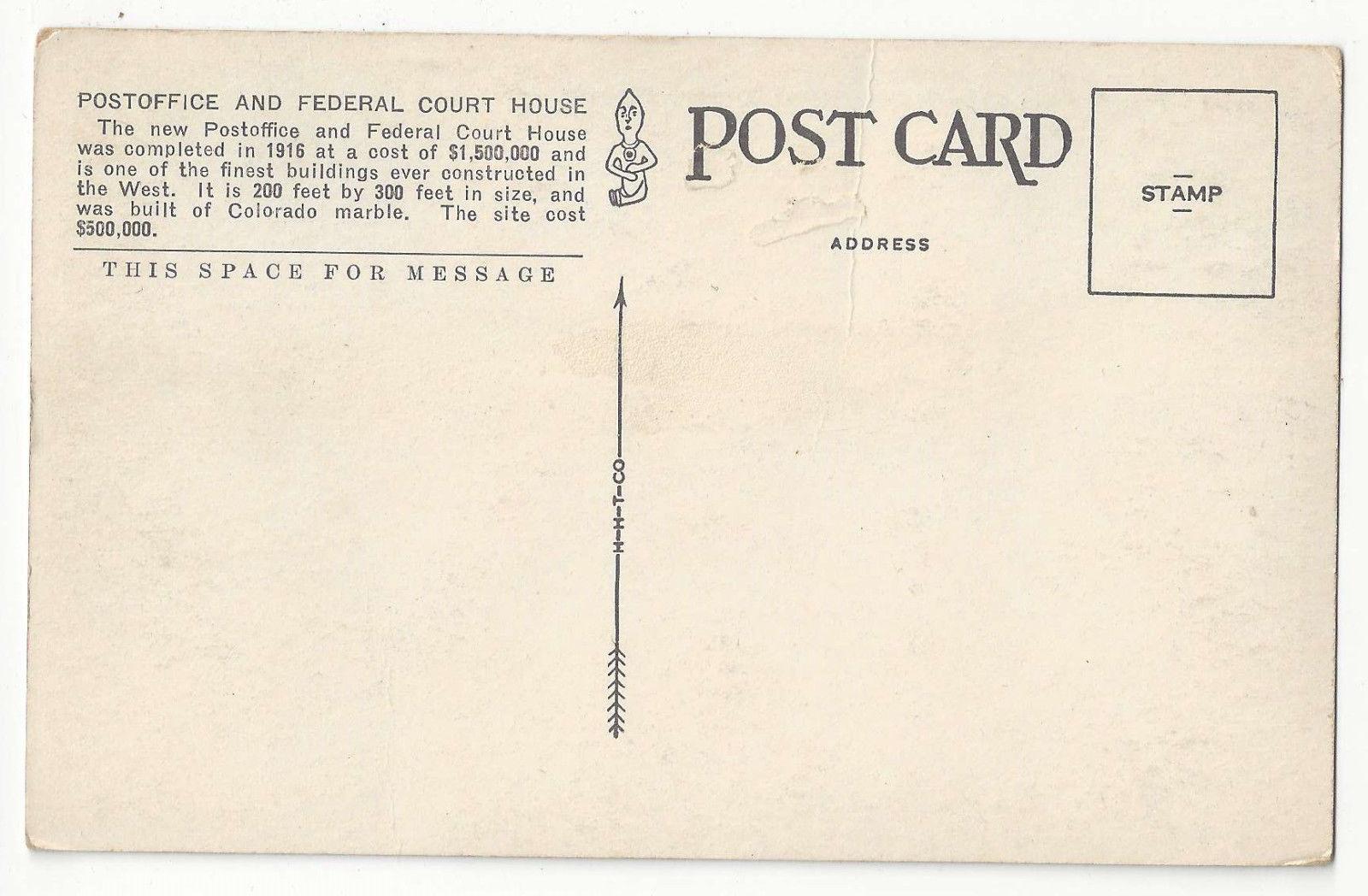 CO Denver Post Office and Federal Court House Vtg Tammen Postcard
