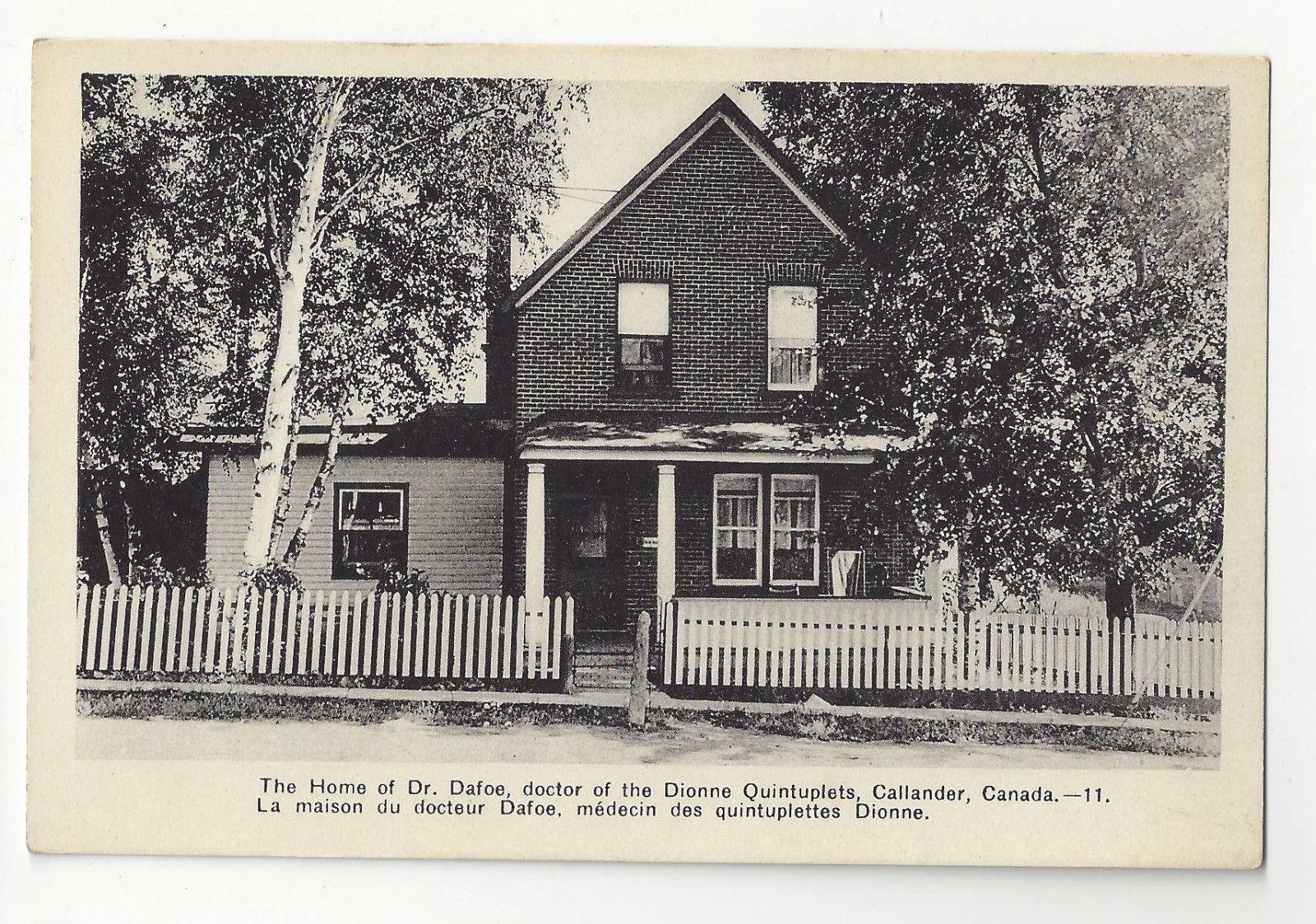 Canada Callander Home of Doctor Dafoe Dionne Quintuplets Vtg Postcard Residence