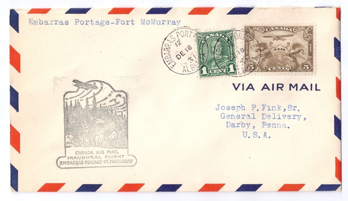 Canada FFC Embarras Portage to Fort McMurray 1931 Sc# C1 First Flight Cover b