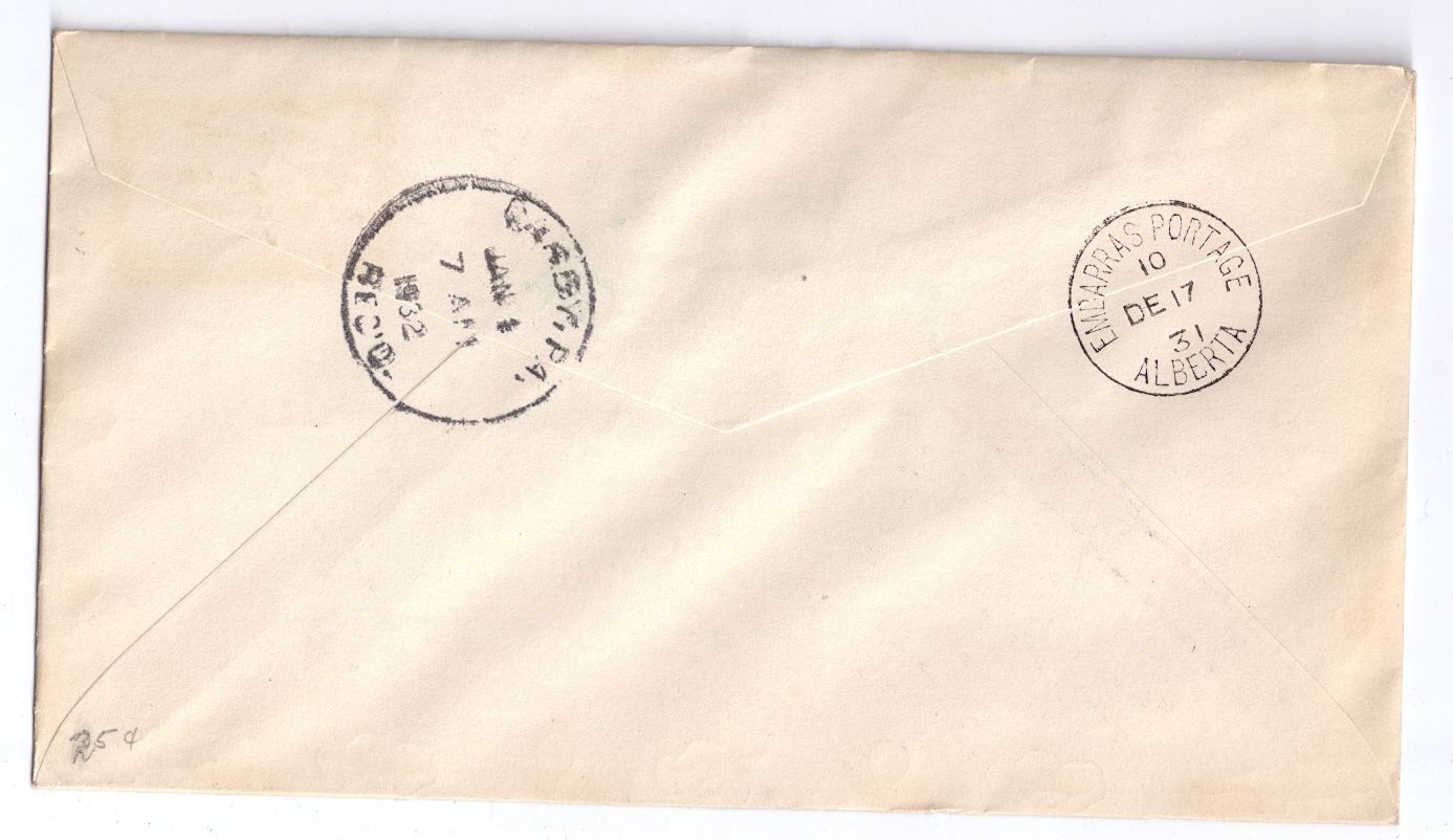 Canada FFC Fort McMurray to Embarras Portage 1931 Sc# C1 First Flight Cover