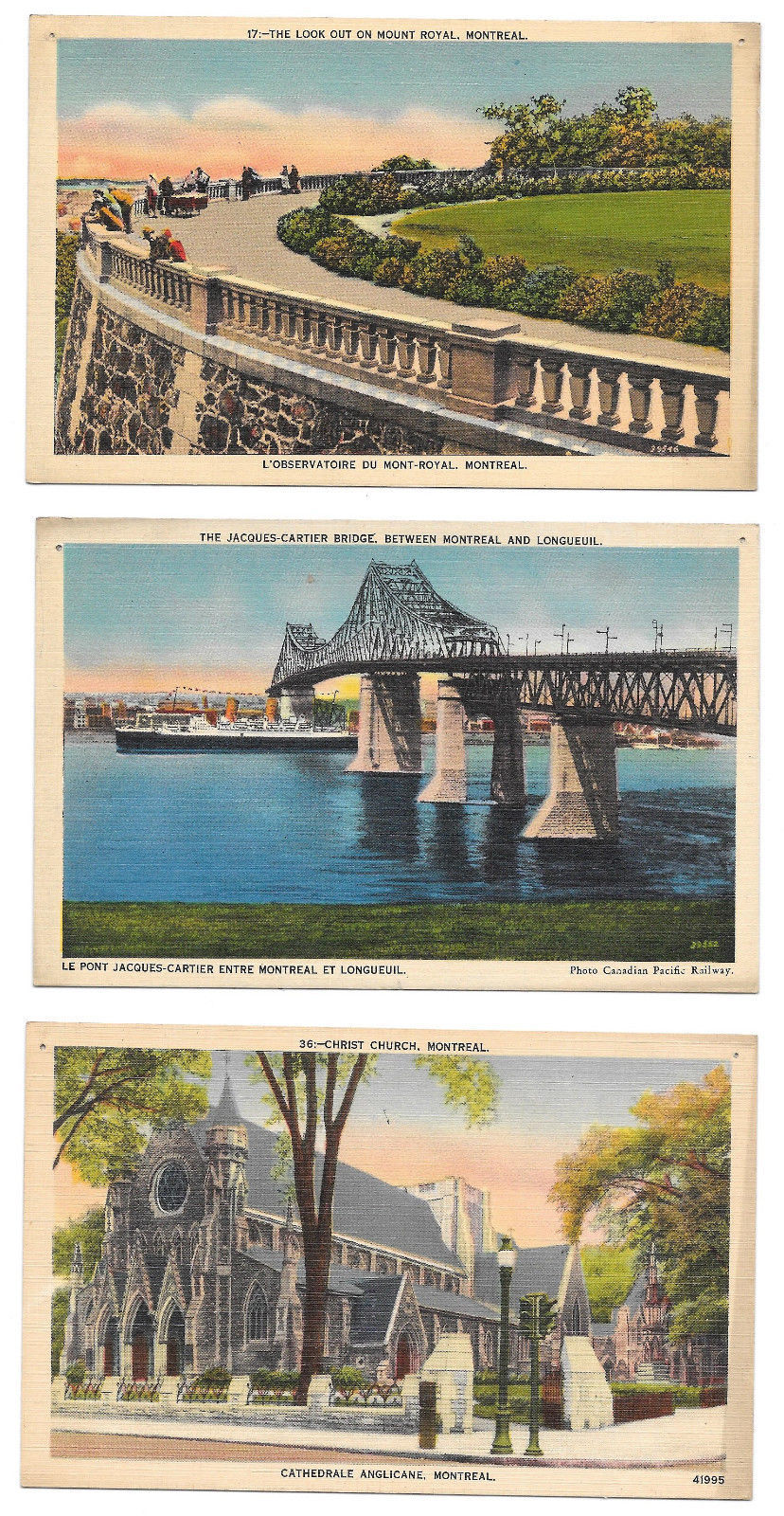 Canada Montreal 3 Linen Postcards Mount Royal Cathedral Jacques Cartier Bridge