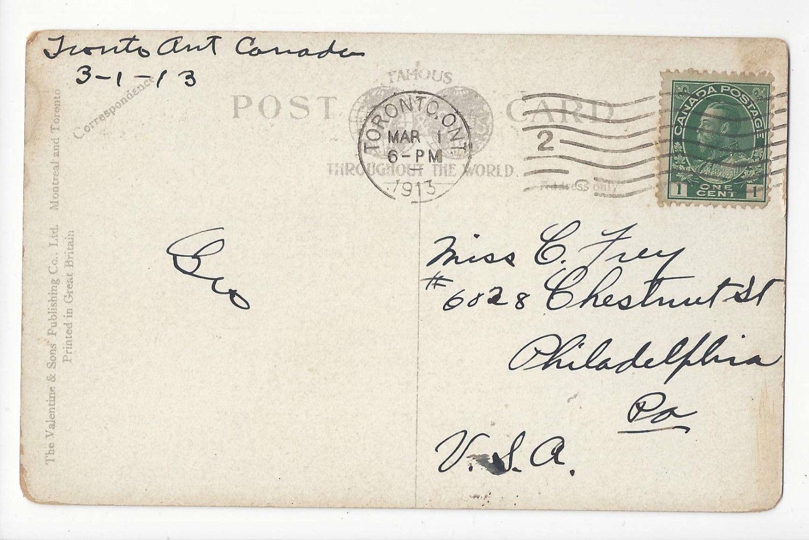 Canada Montreal Mount Royal Woman Children Sled Toboggan Vtg Postcard 1913