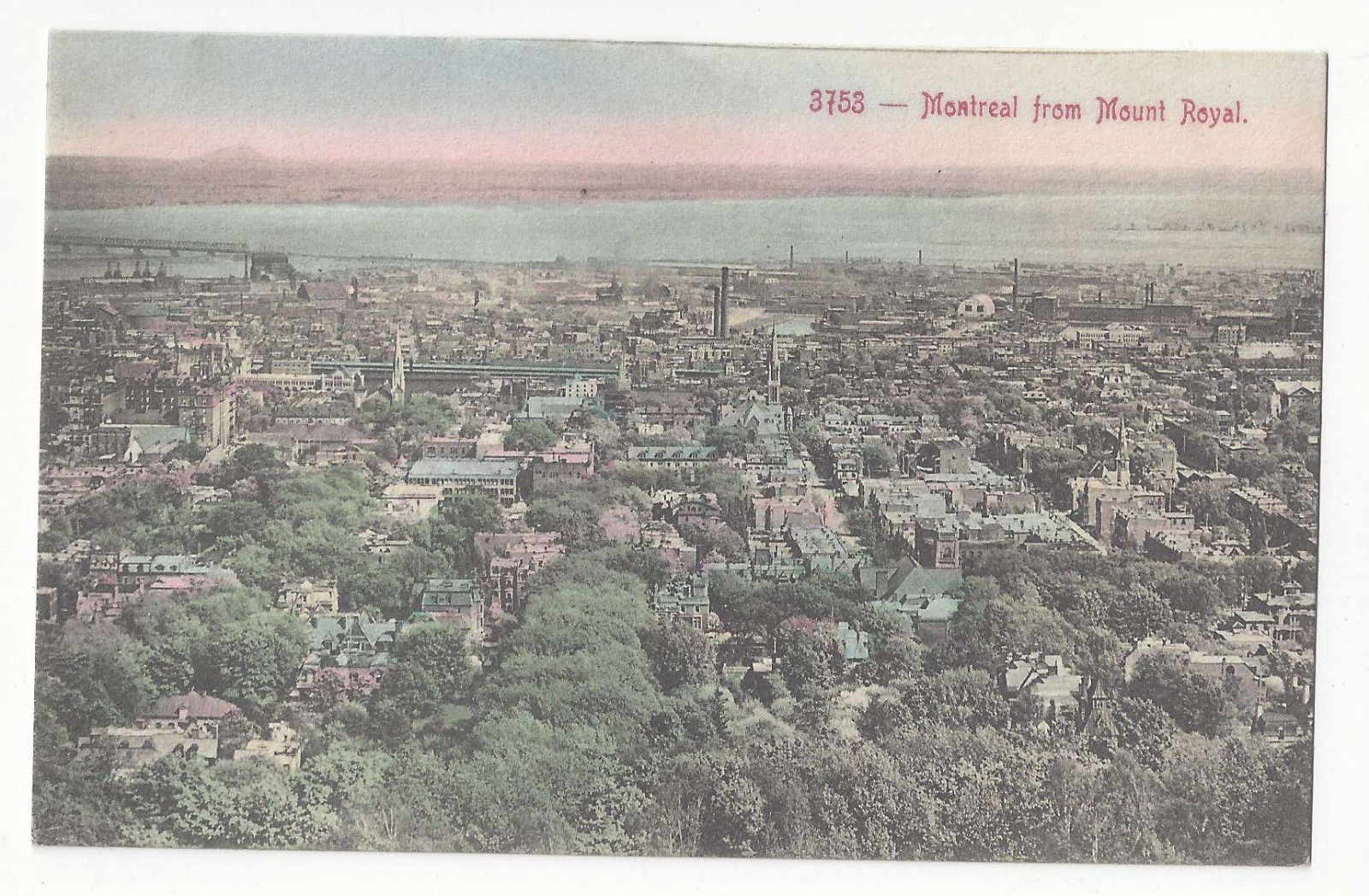 Canada Montreal from Mount Royal Panoramic View Vtg Copp Clark Quebec Postcard