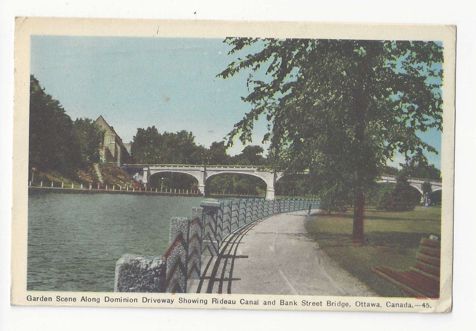 Canada Ottawa Dominion Driveway Rideau Canal Bank Street Bridge Postcard 1947