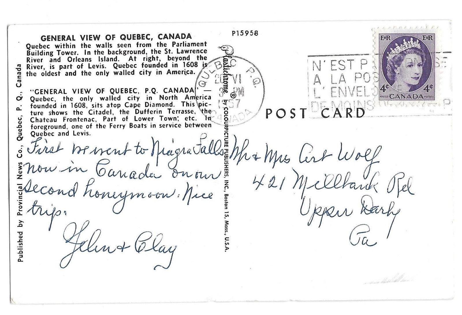 Canada Quebec Dual View Vtg 1957 Postcard