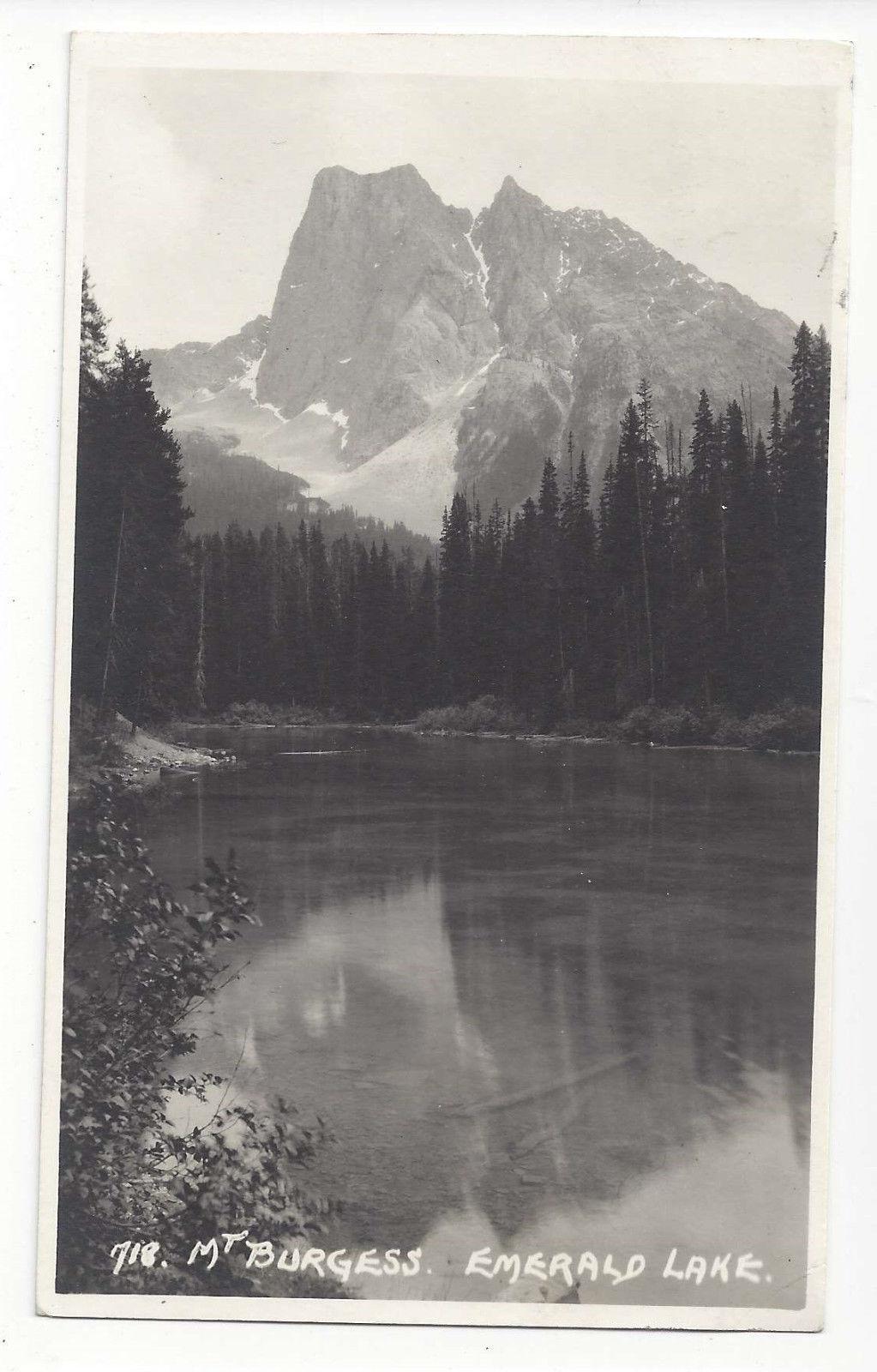 Canada RPPC Emerald Lake Mt Murgess Rockies Vtg Real Photo Postcard 1941