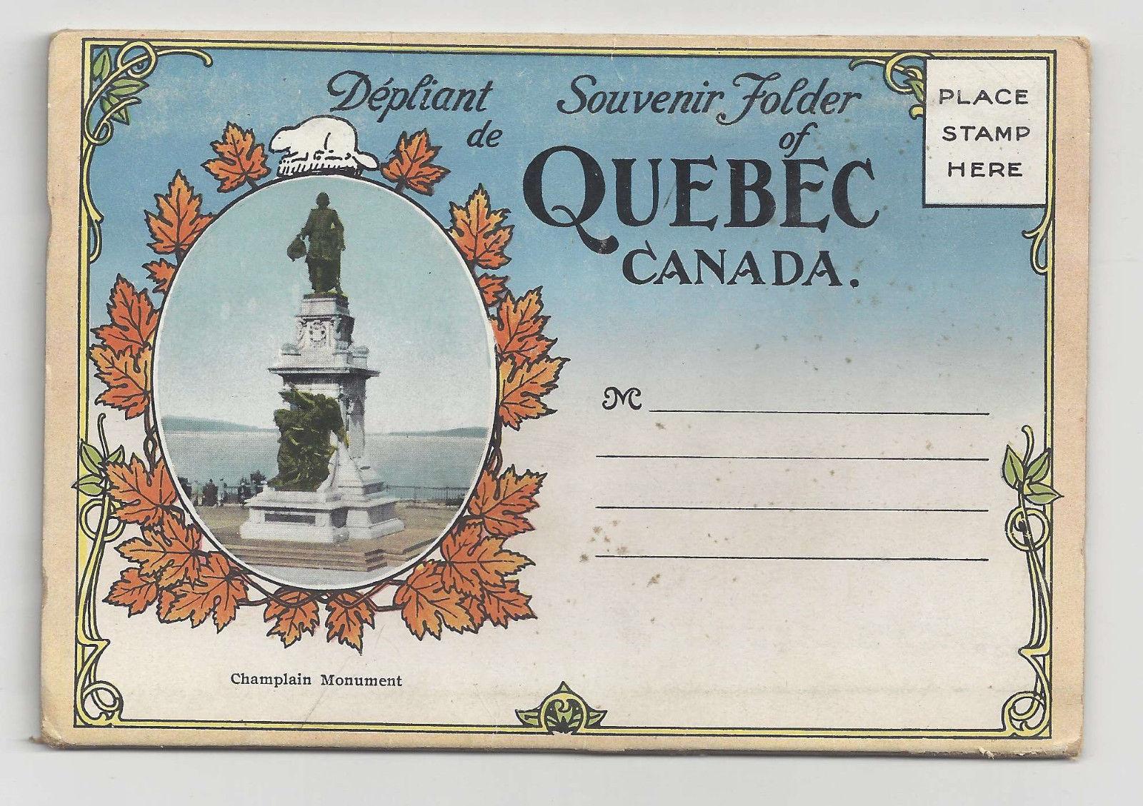 Canada Quebec Vintage Souvenir Folder 10 Views and 2 Panoramas Librairie Garneau